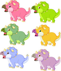 Cartoon triceratops in different color