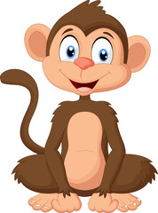Photo sur Plexiglas Magie Cartoon monkey sitting