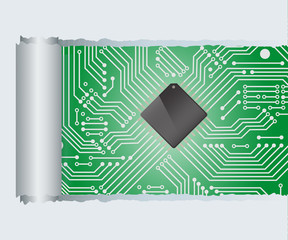 Torn Paper with circuit board