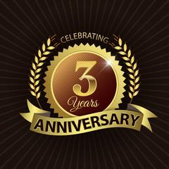 Celebrating 3 Years Anniversary - Laurel Wreath Seal & Ribbon