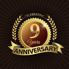 Celebrating 9 Years Anniversary - Laurel Wreath Seal & Ribbon