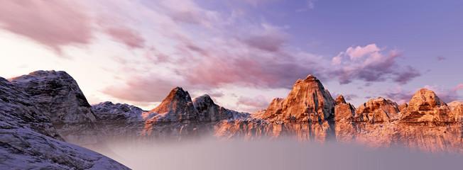 beautiful sunset over mountains. 3d render panorama