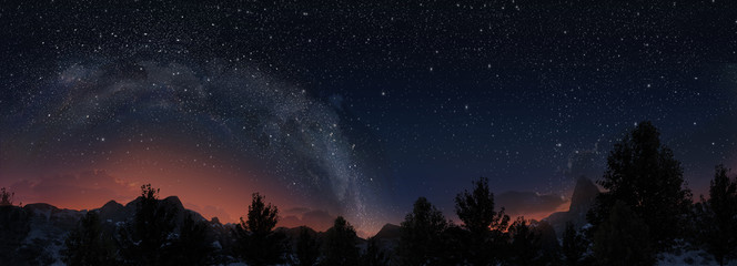 Milky way. 3d panorama view.