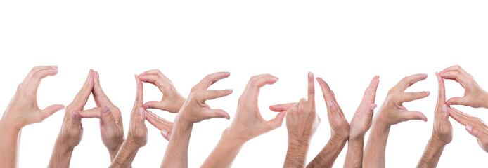hands form the word caregiver
