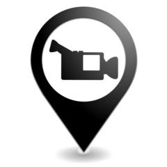 caméra sur symbole localisation noir