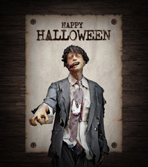Undead Zombies and Poster Horror Background For Halloween Concept