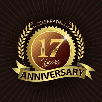 Celebrating 17 Years Anniversary - Laurel Wreath Seal & Ribbon
