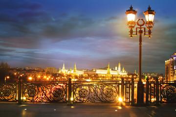 Fototapeta Bright night urban landscape, Moscow
