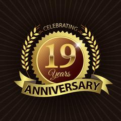 Celebrating 19 Years Anniversary - Laurel Wreath Seal & Ribbon