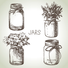 Rustic, mason and canning jars hand drawn set. Sketch design