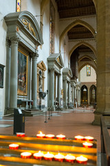 The interior of the Basilica of Santa Croce in Florence
