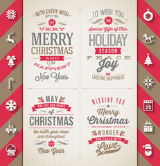 Set of Christmas type designs and flat icons with long shadows