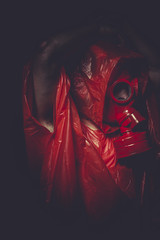 industrial nuclear concept, man with red gas mask