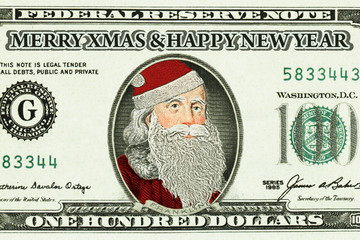 Bank note with Santa Claus portrait closeup