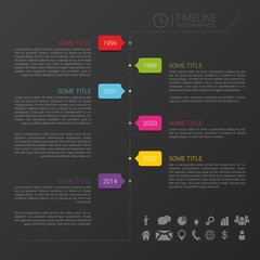 Vector timeline template with icons and black background