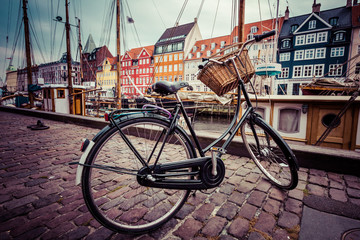 Wall Murals Bicycle Classic vintage retro city bicycle in Copenhagen, Denmark