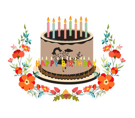 happy birthday cupcake and florals