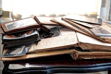 Old books and photos.