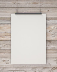 blank white hanging poster on horizontal wooden planks wall
