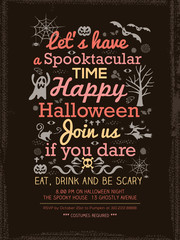Halloween Party typography Invitation Template for Card Poster