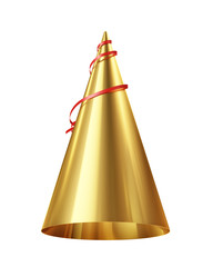 golden party hat isolated on white background