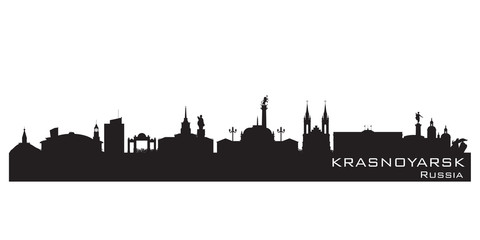 Krasnoyarsk Russia city skyline Detailed silhouette