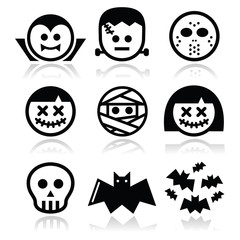 Halloween characters - Dracula, Frankenstein, mummy icons