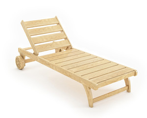 wooden sunbed isolated on white background