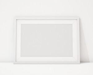 blank white horizontal picture frame