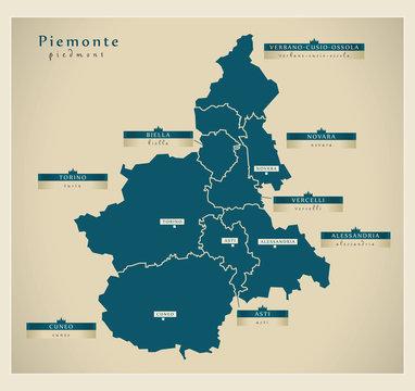 Moderne Landkarte - Piemonte IT