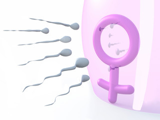 sexual symbol woman protected by latex and sperms