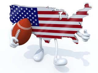 american map with arms, legs and rugby ball on hand