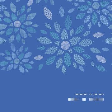 Blue textile peony flowers horizontal frame seamless pattern