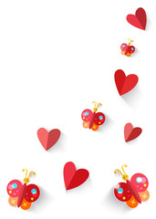 Heart origami  and butterflies isolated in white background. Vec