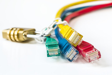 colorful network cables secured lock with chain