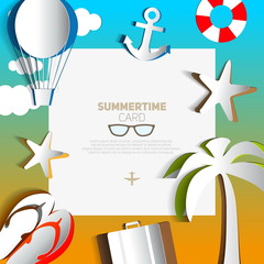 Summertime card or traveling template with beach summer accessor