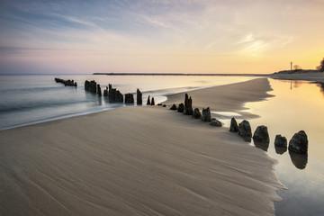 Obraz Morze,  plaża o wschodzie słońca - fototapety do salonu