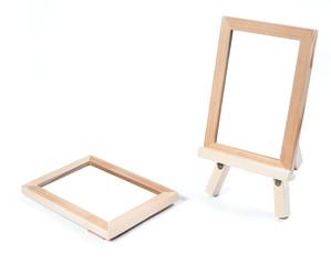 wooden photo frame isolate on white background