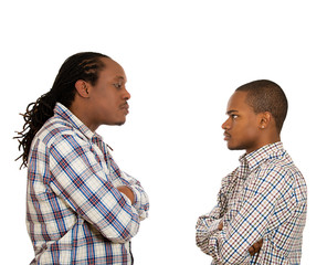 Men looking  at each other with hatred, contempt