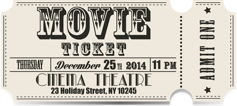 Retro movie vector ticket