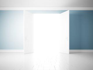 Opened doors, blue wall