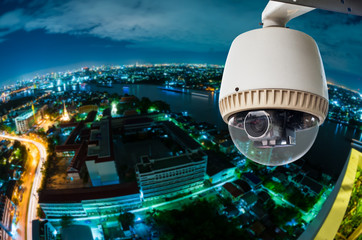CCTV with Blur City in background fish eye perspective
