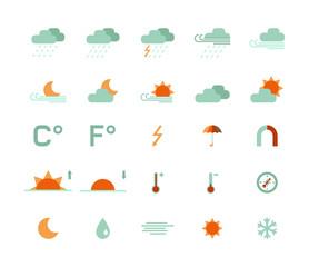 set of flat weather icons