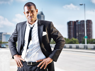 proud african man in suit