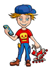 Schoolboy roller skating and gadget in his hands. Illustration.