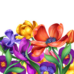 abstract colorful flowers, illustration isolated on white