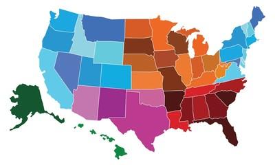 USA Administrative Regional Map Set