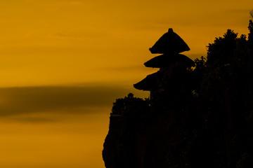 Silhouette at Uluwatu temple, Bali Indonesia