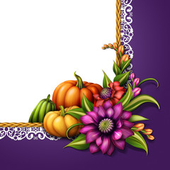 seasonal background, autumn pumpkins, flowers illustration