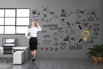 Geschäftsfrau malt Businesskonzept an die Wand